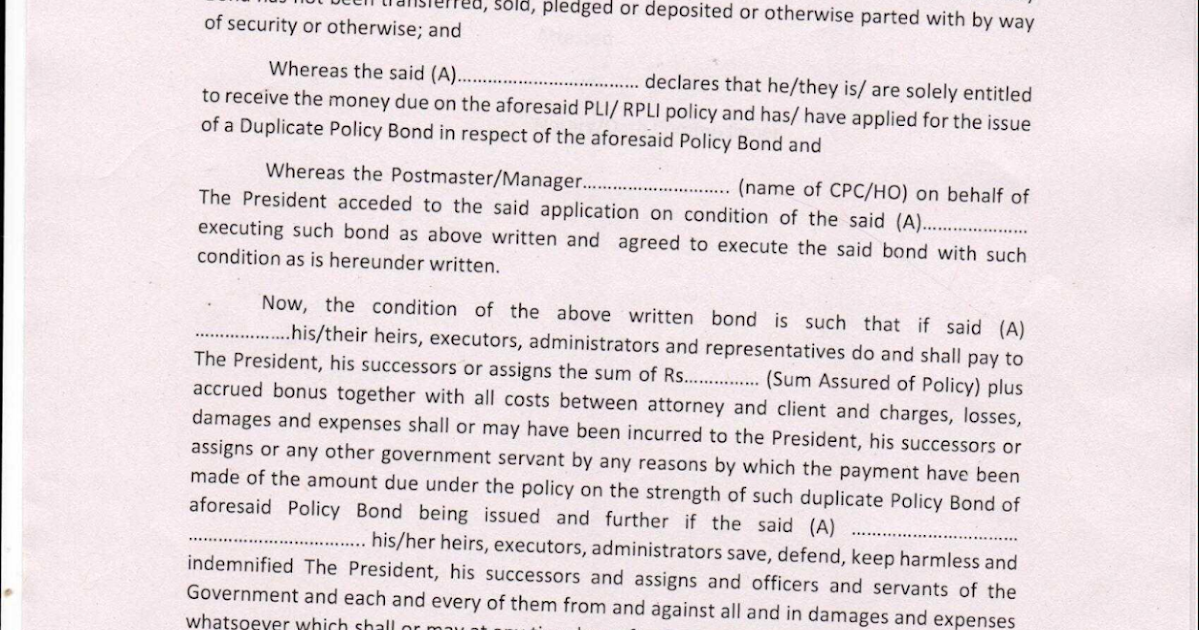 Download Indemnity Bond for applying duplicate PLI Policy ...