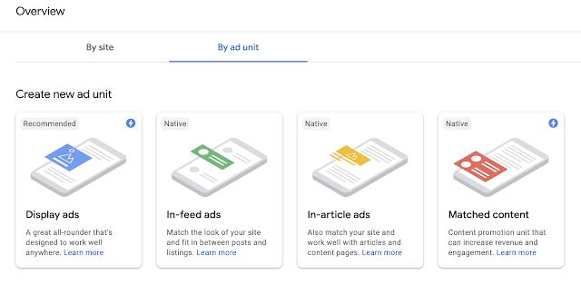 Create Adsense Ad unit.