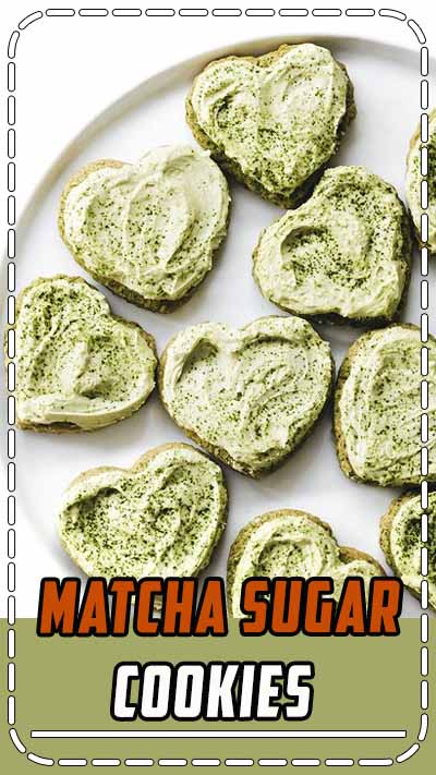 Matcha Sugar Cookies! Your favorite green tea latte transformed into a soft sweet cookie, with more fluffy matcha frosted on top. Vegan and gluten-free! #vegan #glutenfree #matcha #healthy #easyrecipe #baking #cookies #valentinesday