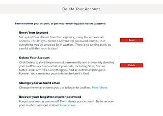 Delete LastPass Account - Delete
