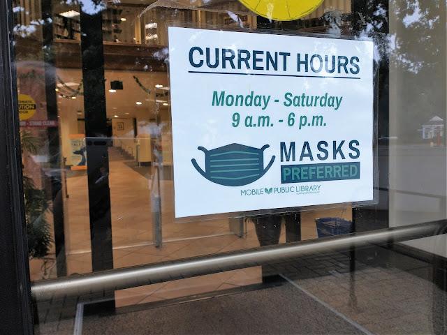 Masks preferred sign, Ben May Library. Mobile, Alabama. July 2021.