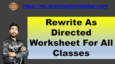 Rewrite As Directed Worksheet