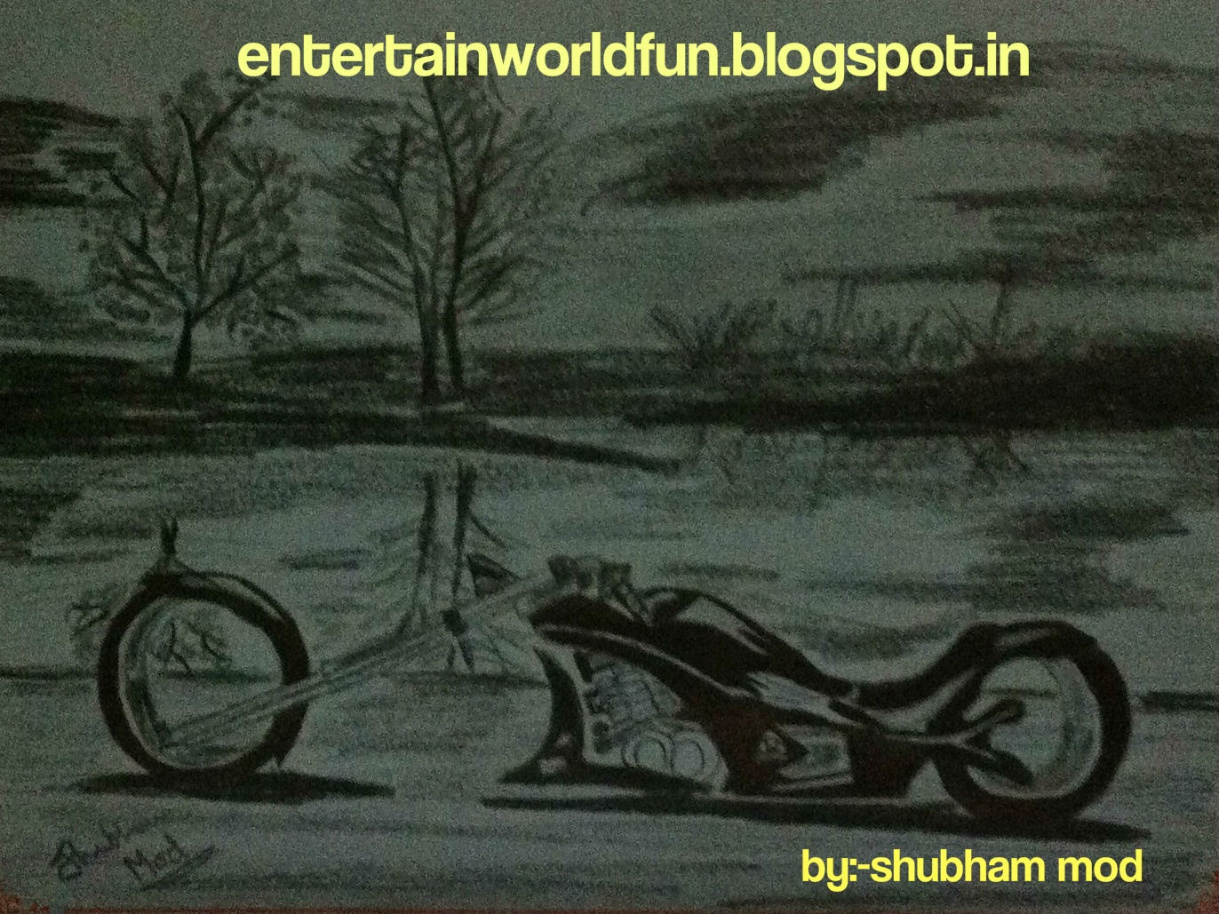 Basics Of Fine Arts Painting And Drawings To Make A Shaded Scenery Of Bike