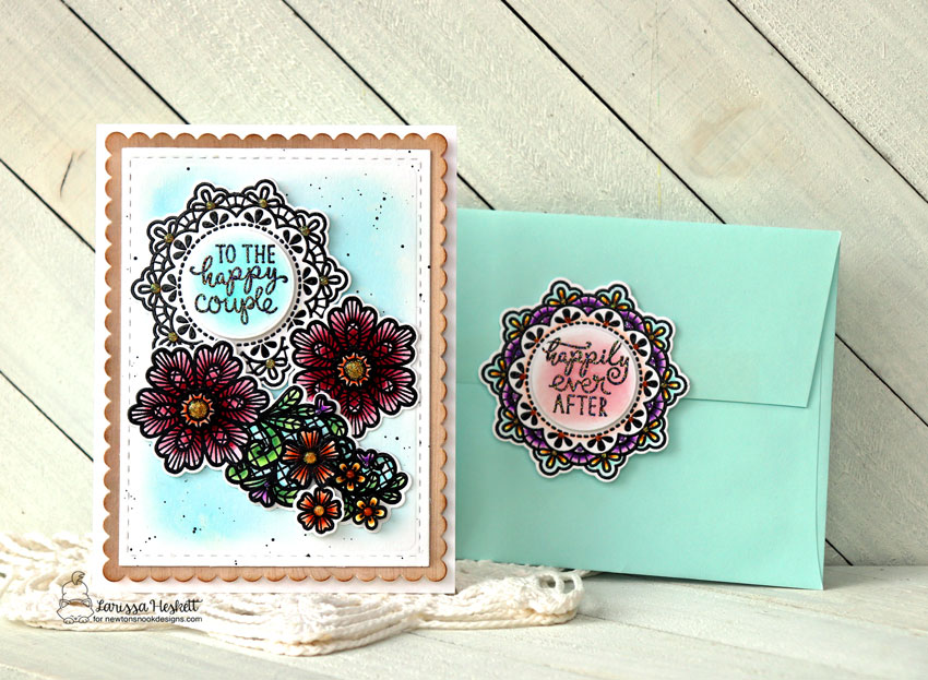 Happy Couple Wedding card by Larissa Heskett | Wedding Frills Stamp Set and Frames & Flags Die Set by Newton's Nook Designs #newtonsnook #handmade
