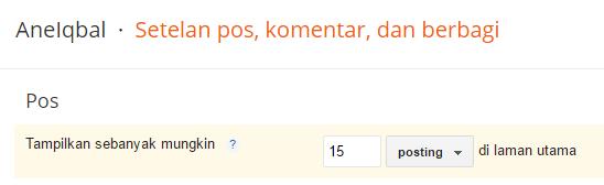masalah jumlah post homepage blogger