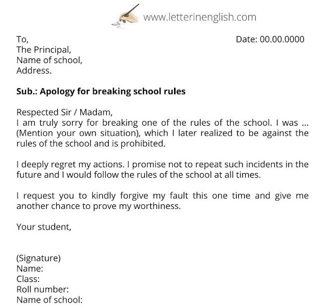 Apologies to Principal for mistake & breaking rules (letter samples)
