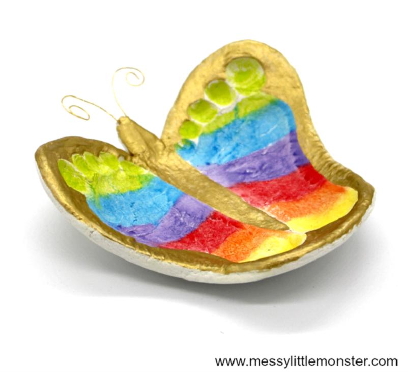 handmade footprint butterfly jewellery dish