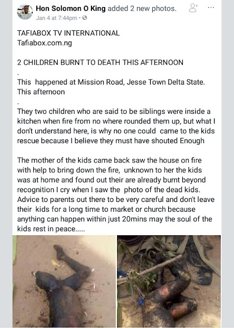 Graphic Photos: Two children burnt beyond recognition in Delta State