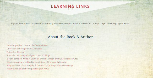 learning links for The Wonderful Wizard of Oz LitWits Kit