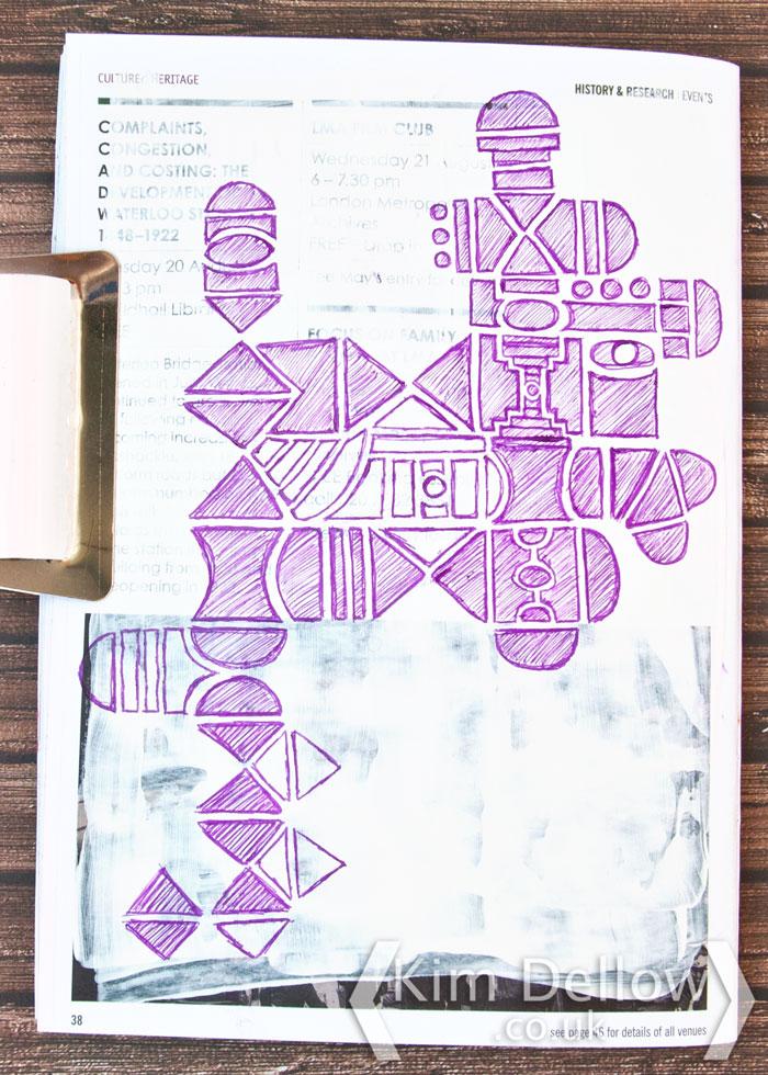 Kim Dellow geometric shapes art journal page