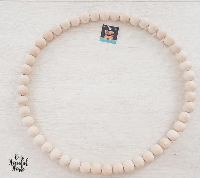 Hobby Lobby Woodpile brand tag wood bead wreath