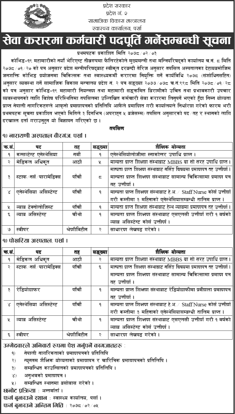 Health Office Parsa Job Vacancy for Various Health Services