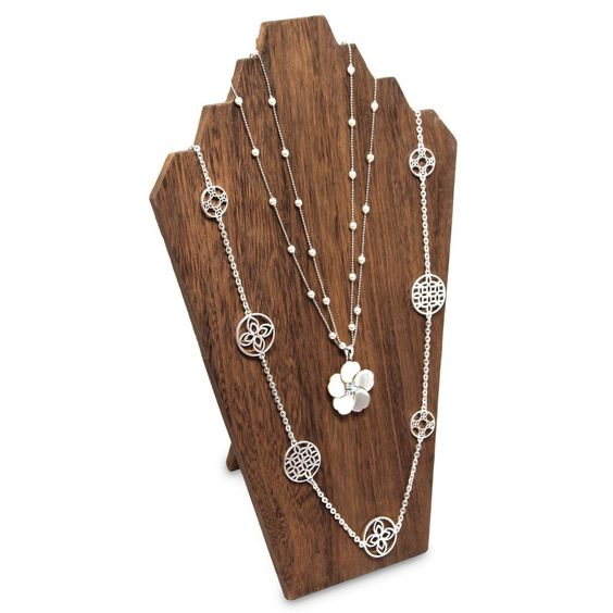 Wooden Jewelry Display Bust Easel 3 Necklaces - Brown