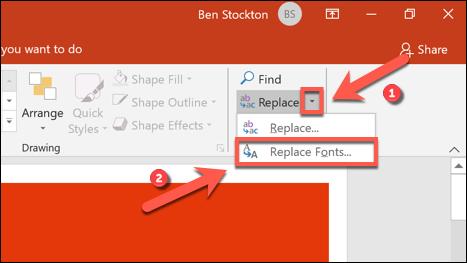 استبدل استبدال> استبدال الخطوط لاستبدال خطوط PowerPoint بسرعة