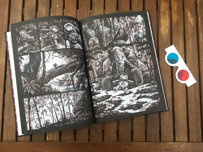 Libro Jim Curious viaje a través de la jungla, libro en 3 D