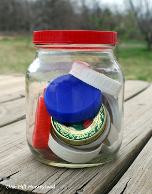 A collection of multi-colored Mason jar lids
