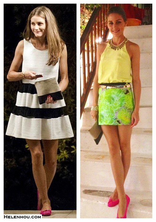 What to Wear on a beach vacation; how to wear print dress or skirt, how to wear black and white, beach outfit ideas 2013; spring/summer, street style;     On Olivia Palermo: House of Harlow 1960 Gypsy Feather Necklace, Tibi Solid Silk Halter Cami, Tibi green floral print mini skirt, pink ballet flat, celine clutch, gold bracelet, gold belt;  On Olivia Plermo: black and white stripe dress, pink ballet flat, celine colorblock clutch, gold bracelet.