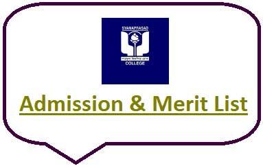 Syamaprasad College Merit List