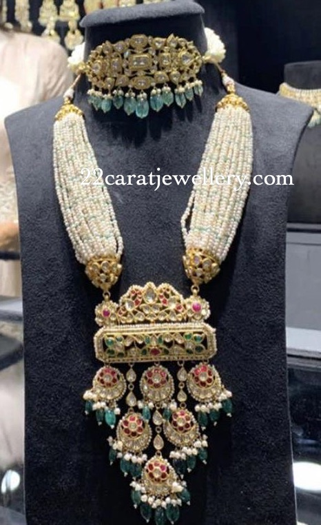 Pearls Long Set with Kundan Pendant