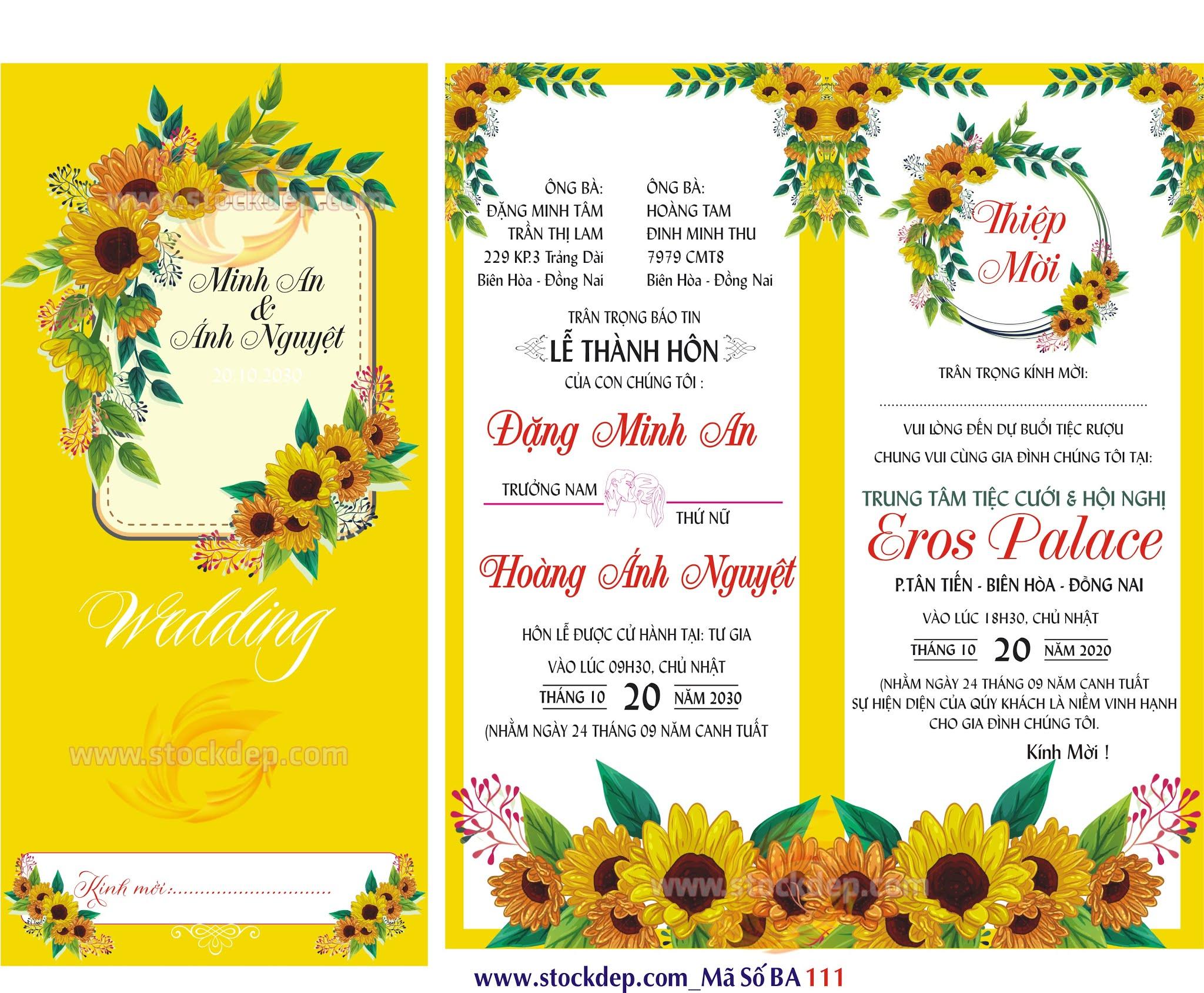 Thiệp cưới hoa hướng dương