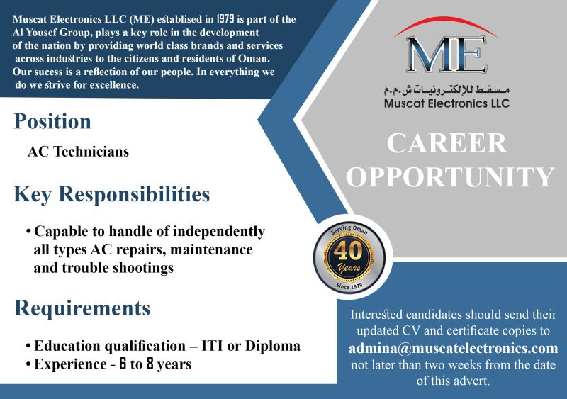 ITI and Diploma Jobs Vacancy For Muscat Electronics LLC Air conditioning contractor in Muscat, Oman