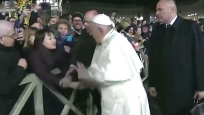 Francis sslapping a woman