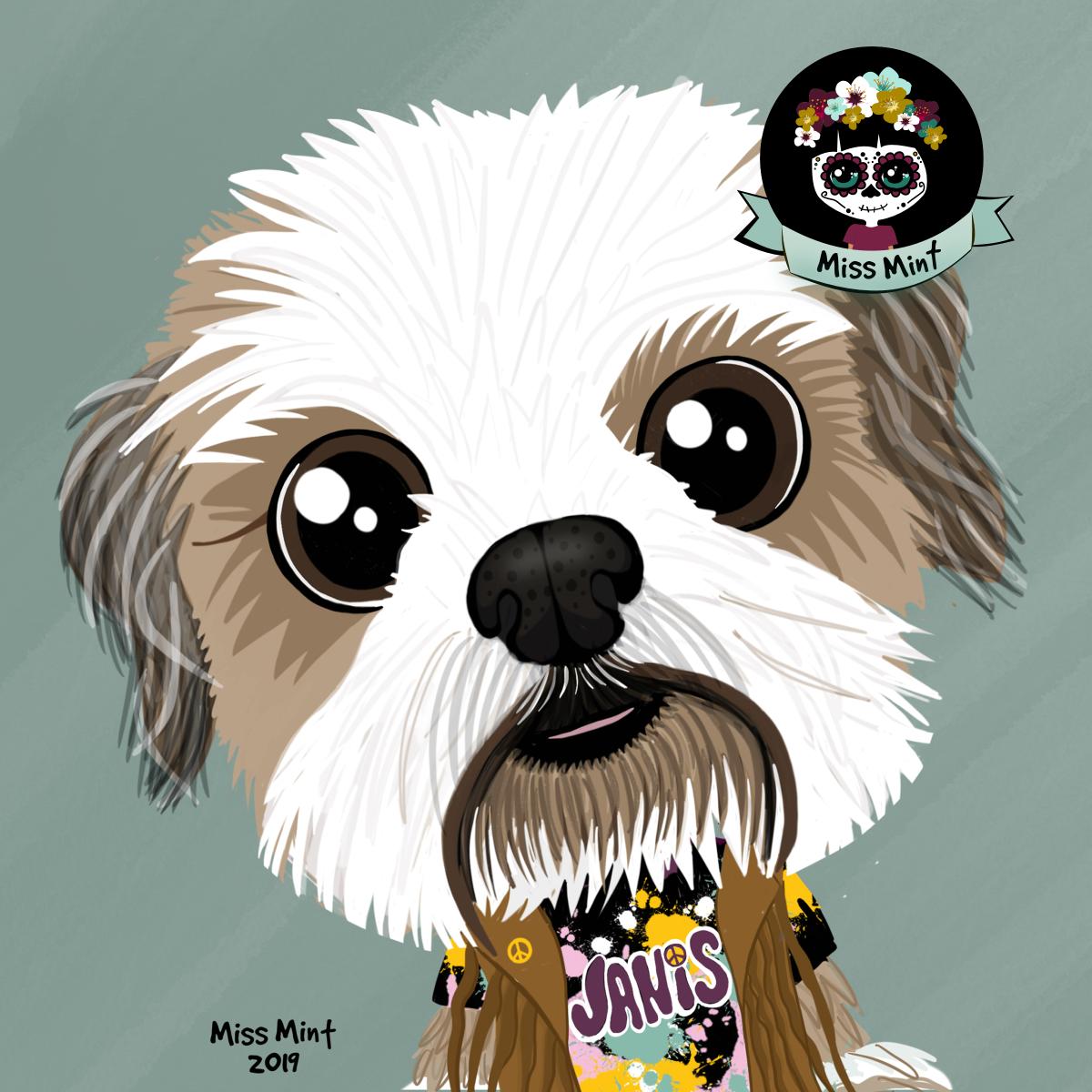 Retrato personalizado de tu perro shihtzu