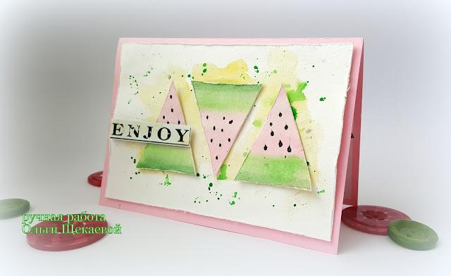 открытка, открытка с треугольниками, с арбузами