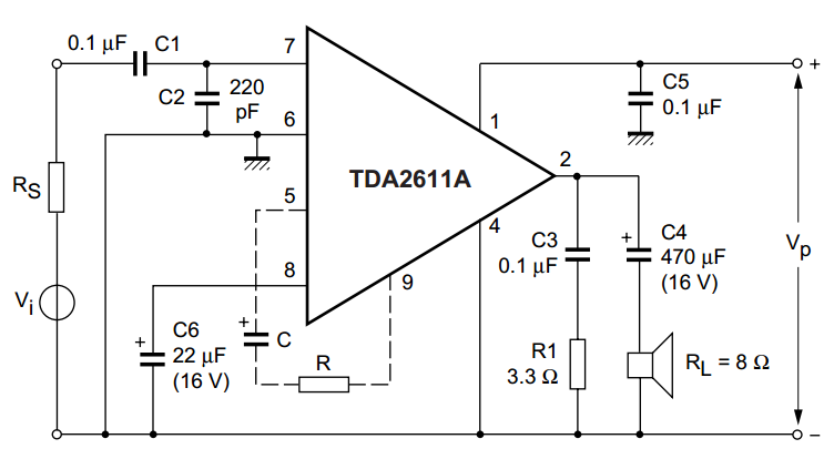 audio amplifier schematic with tda2003