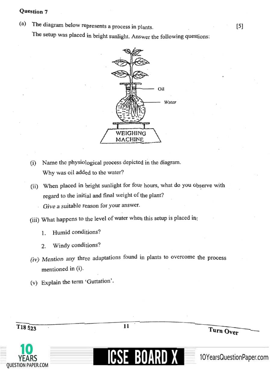 icse 2018 class 10th Biology Paper 3 question paper