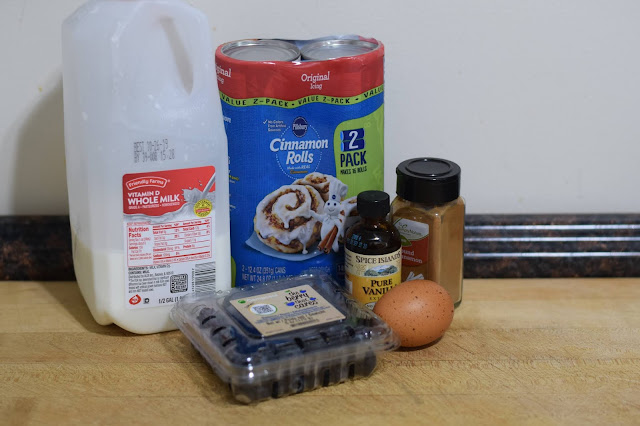 The ingredients needed to make the crockpot blueberry cinnamon bake recipe.