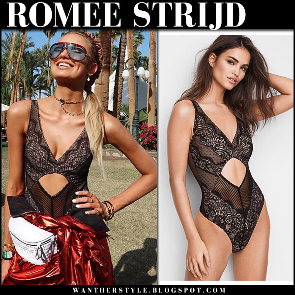 Romee Strijd in black lace bodysuit at Coachella 2018 festival model fashion