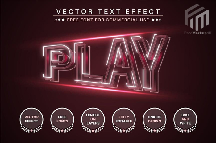 Red Play Editable Text Effect Font Style