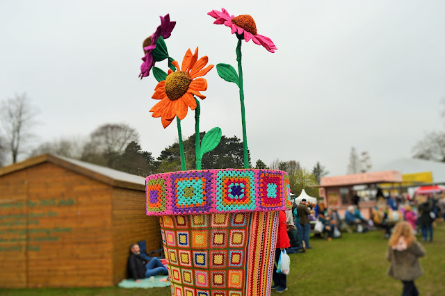 Large crocheted plantpot.