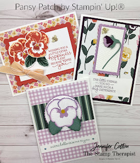 Stampin' Up!®s brand new (sneak peek) Pansy Patch Bundle!  I made these three cards on my weekly Facebook Live.  Measurements, supply list, and link to video on the blog. #StampinUp #StampTherapist #PansyPatch