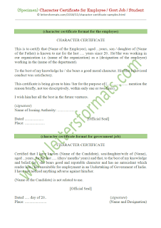 Character Certificate for Employee / Govt Job / Student (Sample)