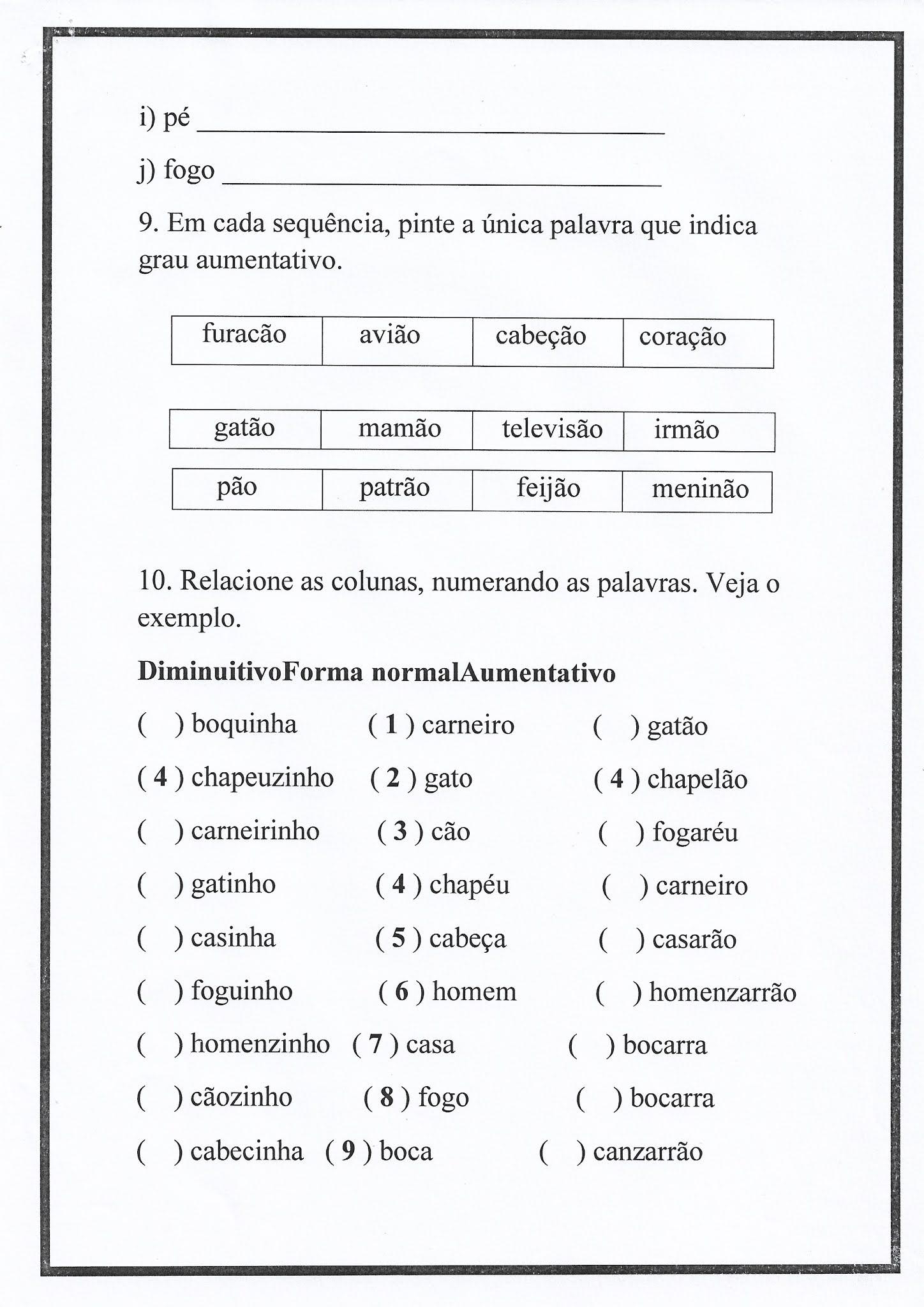 Atividade de Português: Ortografia - palavras com S ou SS - interpretação de gráficos e grau diminutivo e aumentativo