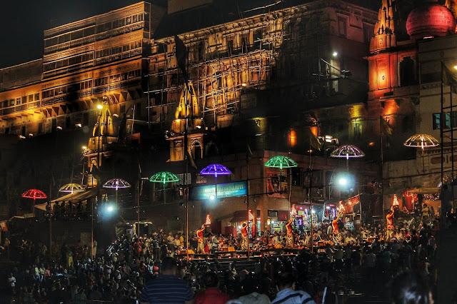 Night, Ganga Ghat, Varanasi,