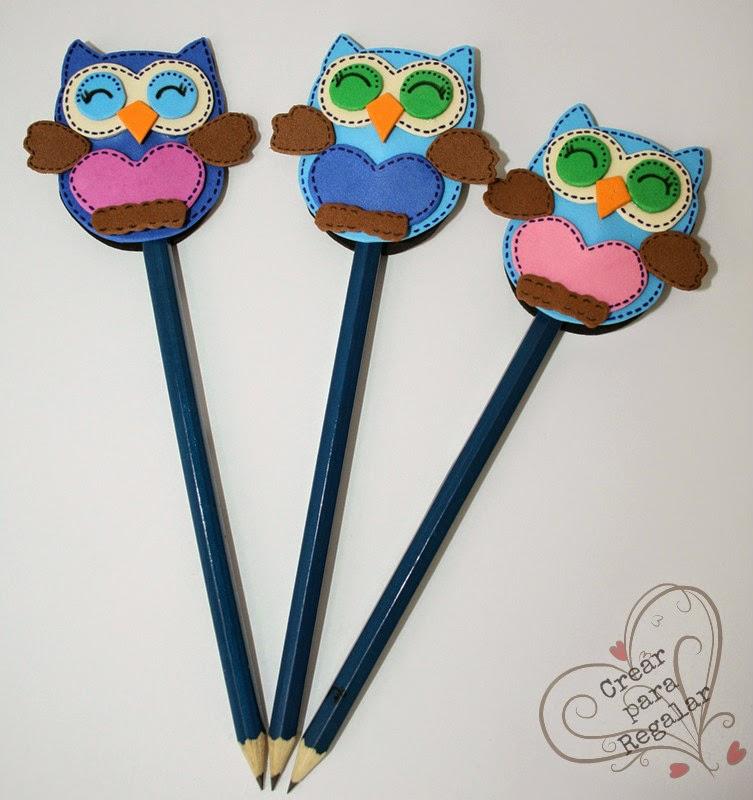 buhos goma eva decorar lapices