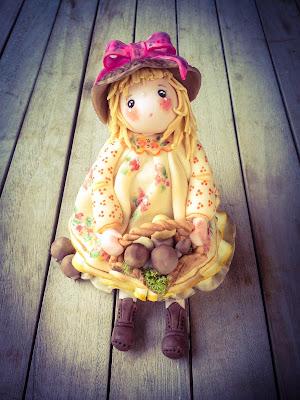bambola di mais con funghi porcini
