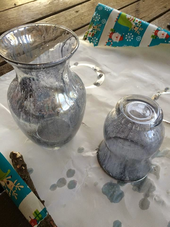 How to embellish and paint dollar store glass for a chic mercury glass look.