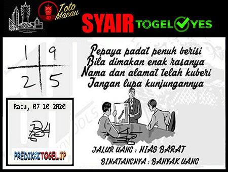 Syair Togel Yes Macau Rabu 07 Oktober 2020