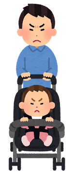 ベビーカーを押すお父さんの表情イラスト(怒った顔)