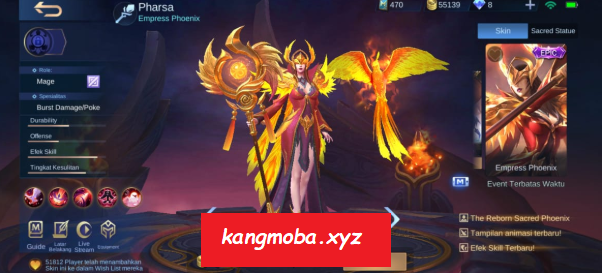 Script Skin Epic Pharsa Empress Phoenix Full Effect Mobile Legends