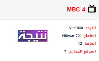 تردد قناة ام بي سي MBC 4 الجديد 2018 على النايل سات