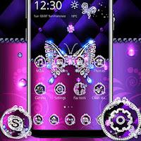 Purple Luxury Diamond Butterfly Theme Apk free Download