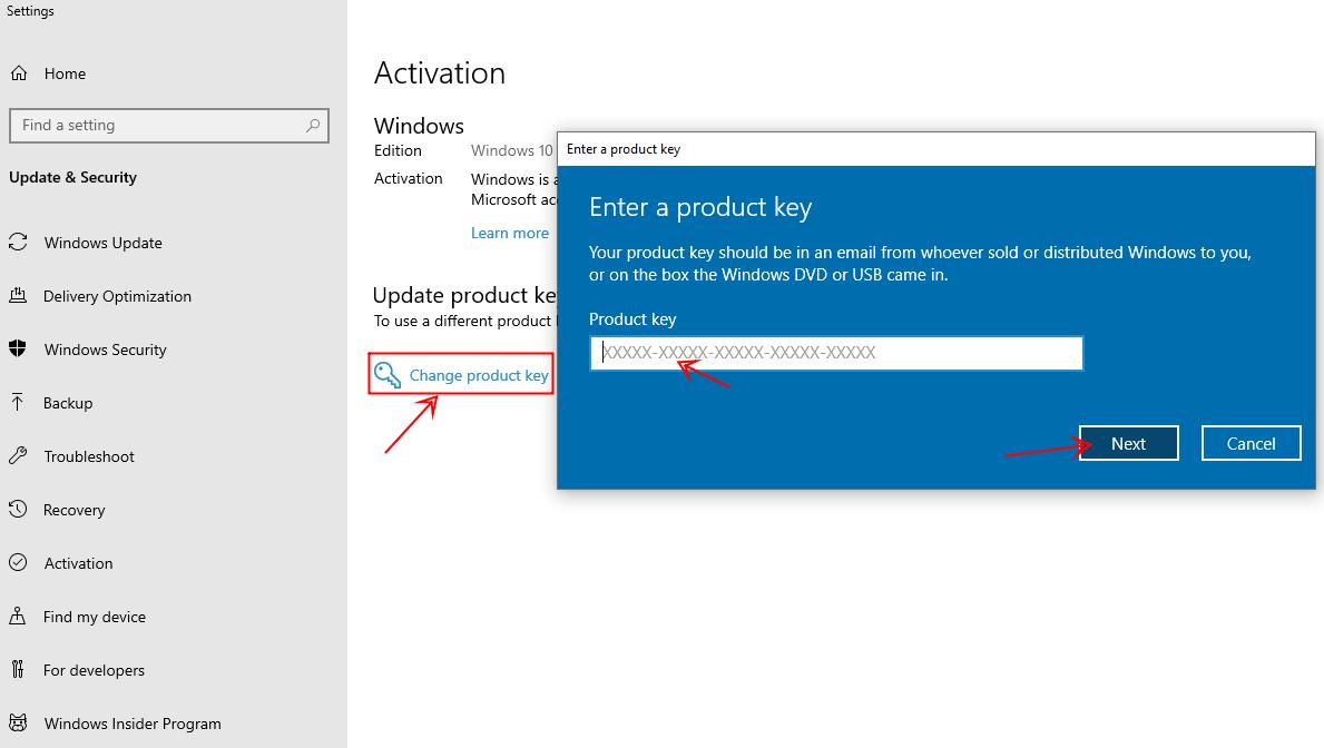 Nhấp change product key > Nhập key mặc định win 10 pro bên trên sau đó nhấn Next > Start để bắt đầu update