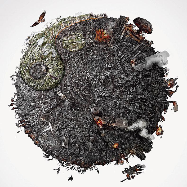 Artistas dibujan detalladas Ilustraciones de un planeta destruido por la gente
