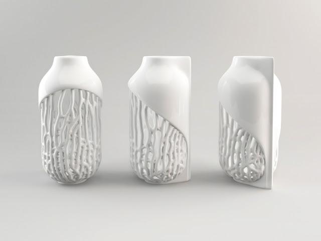 White Printing Vase White Printing Vase Eragatory  Xylem    ceramic 3D print   small 800